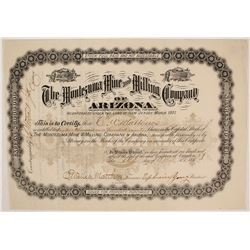 Montezuma Mine and MIlling Company of Arizona Stock Certificate