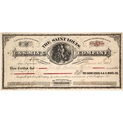 Very Scarce Saint Louis G & S Mining Company Stock Certificate