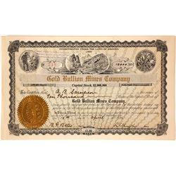 Gold Bullion Mines Company Stock Certificate