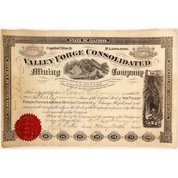 Very Scarce Valley Forge Consolidated Mining Company Stock Certificate