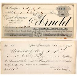 Arnold Gold & Silver Mining Company Stock and Receipt
