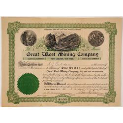Great West Mining Company Stock; Founders Share signed by Samuel J. Tilden
