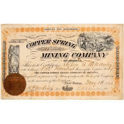 Copper Spring Mining Company of Arizona Stock Certificate
