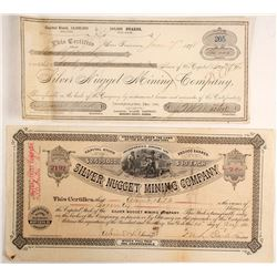 Two Silver Nugget Mining Company Stock Certificates