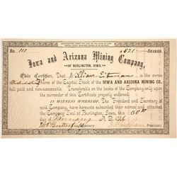 Extra Rare Iowa and Arizona Mining Company Stock Certificate