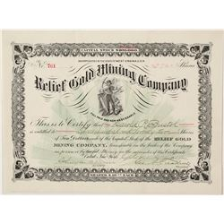 Relief Gold Mining Company Stock Certificate 1