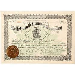 Relief Gold Mining Company Stock Certificate 2