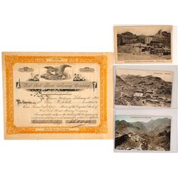 West Gold Road Mining Company Stock Certificate with postcards