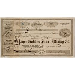 Hayes Gold and Silver Mining Company Stock Certificate