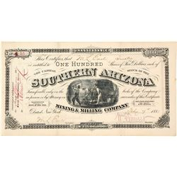 Southern Arizona Mining & Milling Co. Stock Certificate, Santo Domingo District, AZ 1881