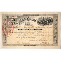 The Gunsight Mining Company Stock Certificate, 1883, Arizona Territory