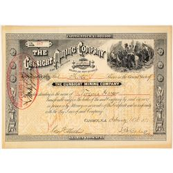 The Gunsight Mining Company Stock Certificate, Pima Co., AZ, 1883