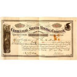 Centennial Silver Mining Co. Stock Certificate, Globe District, 1881