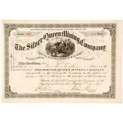 Silver Queen Mining Company Stock Certificate, Pinal Co., Arizona Territory, 1887