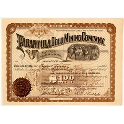 The Tarantula Gold Mining Co. Stock Certificate, Pinal County, AZ 1898