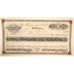Hastings Consolidated Gold & Silver MIning Company Stock Certificate
