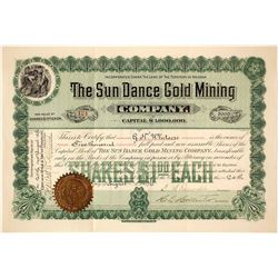Sun Dance Gold Mining Company Stock Certificate