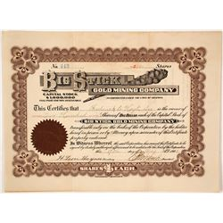 Big Stick Gold Mining Company Stock Certificate