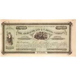 Amaranth and Q. N. Mining Company Stock Certificate