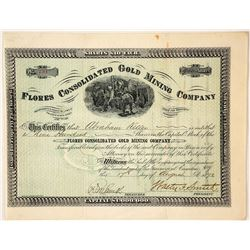 Flores Consolidated Gold Mining Company Stock Certificate