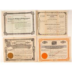 Four Michigan Related Arizona Mining Company Stock Certificates