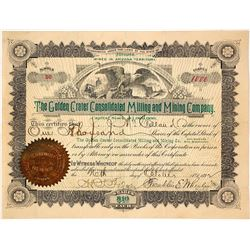 Golden Crater Consolidated MIlling and Mining Company Stock Certificate
