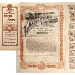 Indian Territory Mineral & Mining Company Bond, 1898