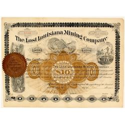 Lost Louisiana Mining Company Stock Certificate, Bear, Arkansas, 1887