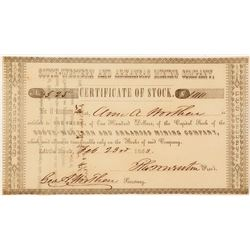 South-Western and Arkansas Mining Company Stock Certificate 2