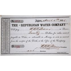Republican Water Co. Check Used as Scrip--California Gold Rush, 1855