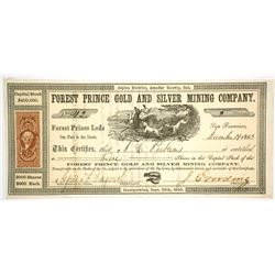 Forest Prince Gold and Silver Mining Company Stock Certificate, 1863, Alpine/Amador County, CA