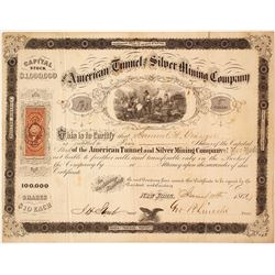 American Tunnel & Mining Co. Stock Certificate, Alpine County, California, 1866