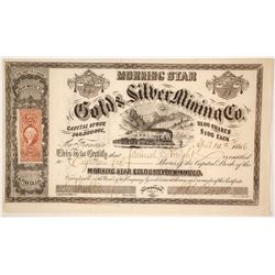 Morning Star Gold & Silver Mining Co. Stock Certificate, Alpine County, California, 1866