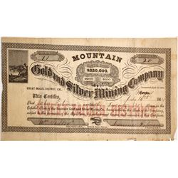 Mountain Gold & Silver Mining Co. Stock Certificate, Mogul District, CA, 1864