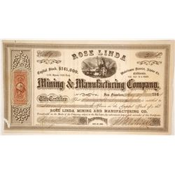 Rose Linda Mining & Manufacturing Co. Stock Certificate, Alpine County, California, 1864