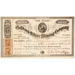 """The Pearl"" Gold & Silver Mining Co. Stock Certificate, Silver Mountain, 1863"