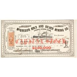 McGregor Gold & Silver Mining Co. Stock Certificate, Silver Mountain District, 1863