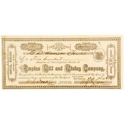 Empire Mill & Mining Company Stock Certificate, 1878