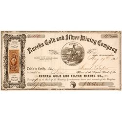Eureka Gold & Silver Mining Co. Stock Certificate, Silver Mountain District, 1863