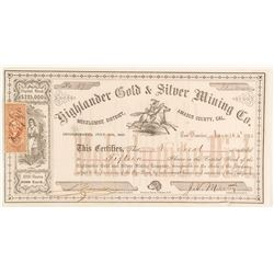Highlander Gold & Silver Mining Co. Stock Certificate, 1863, Mokelumne District
