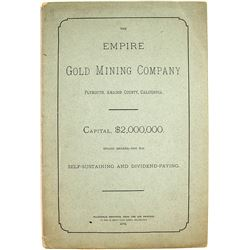 Prospectus for Empire Gold Mining Co., Plymouth, Amador County, CA, 1879