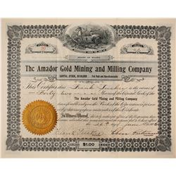 Amador Gold Mining and Milling Company Stock Certificate