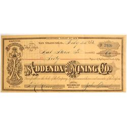 Addenda Gold & Silver Mining Company Stock Certificate, Bodie, 1881