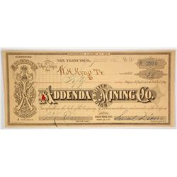 Addenda Gold & Silver Mining Company Stock Certificate, Bodie, 1884