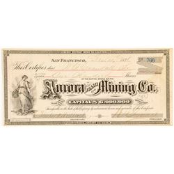 Aurora Tunnel & Mining Co. Stock Certificate, Bodie, 1878