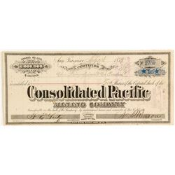 Consolidated Pacific Mining Company Stock Certificate, Bodie, 1879