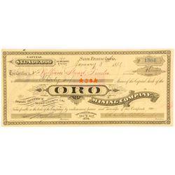 Oro Mining Company Stock Certificate, Bodie, 1881
