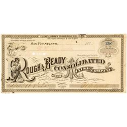 Rough & Ready Consolidated Gold Mining Co. Stock Certificate, Bodie, 1879