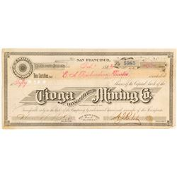 Tioga Consolidated Mining Company Stock Certificate, Bodie, 1881