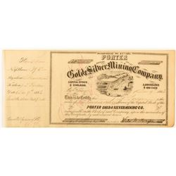 Porter Gold & Silver Mining Company Stock Issued to Porter, 1863